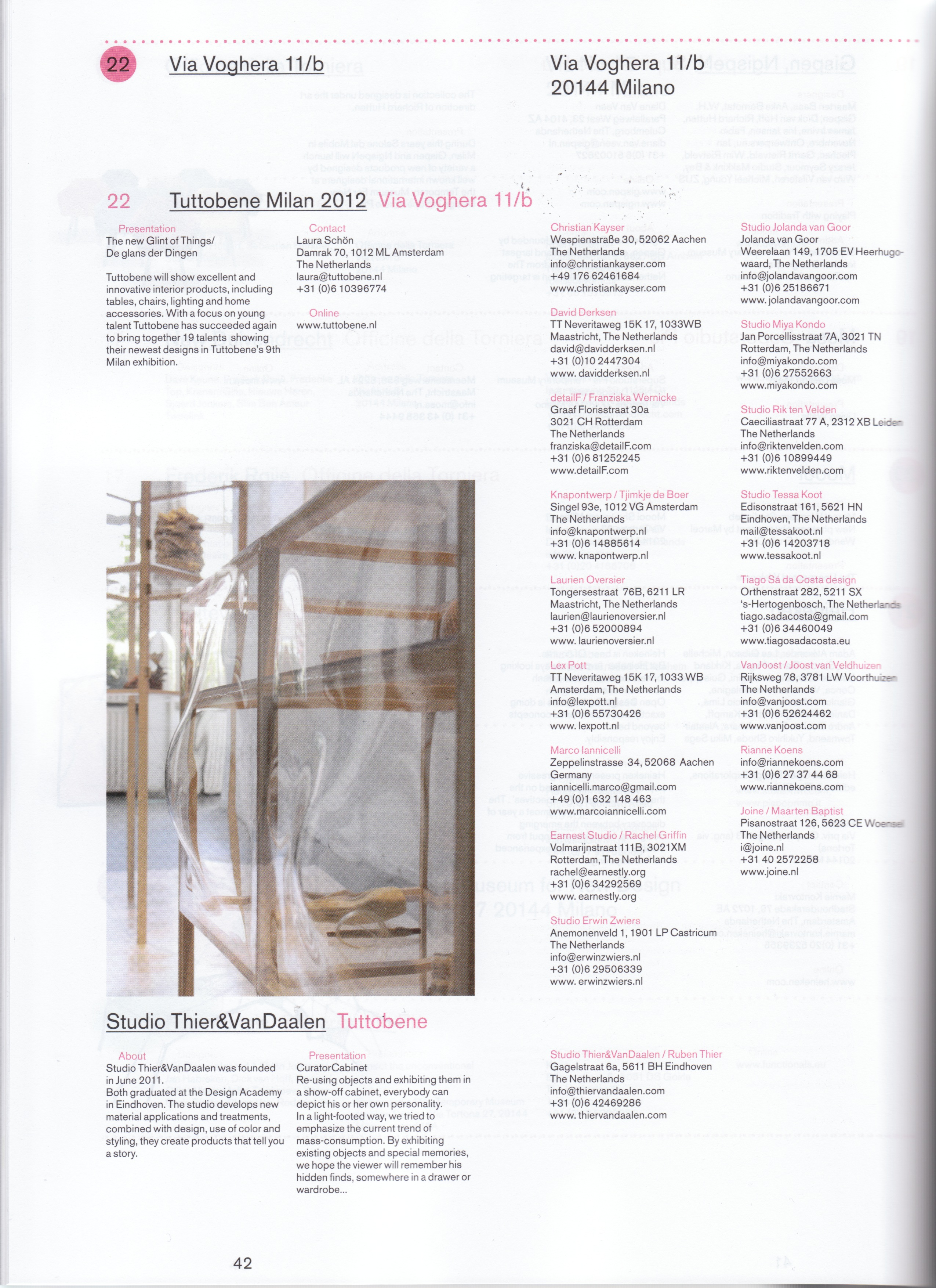 Article about Studio Thier&VanDaalen in Connecting the Dots 2012